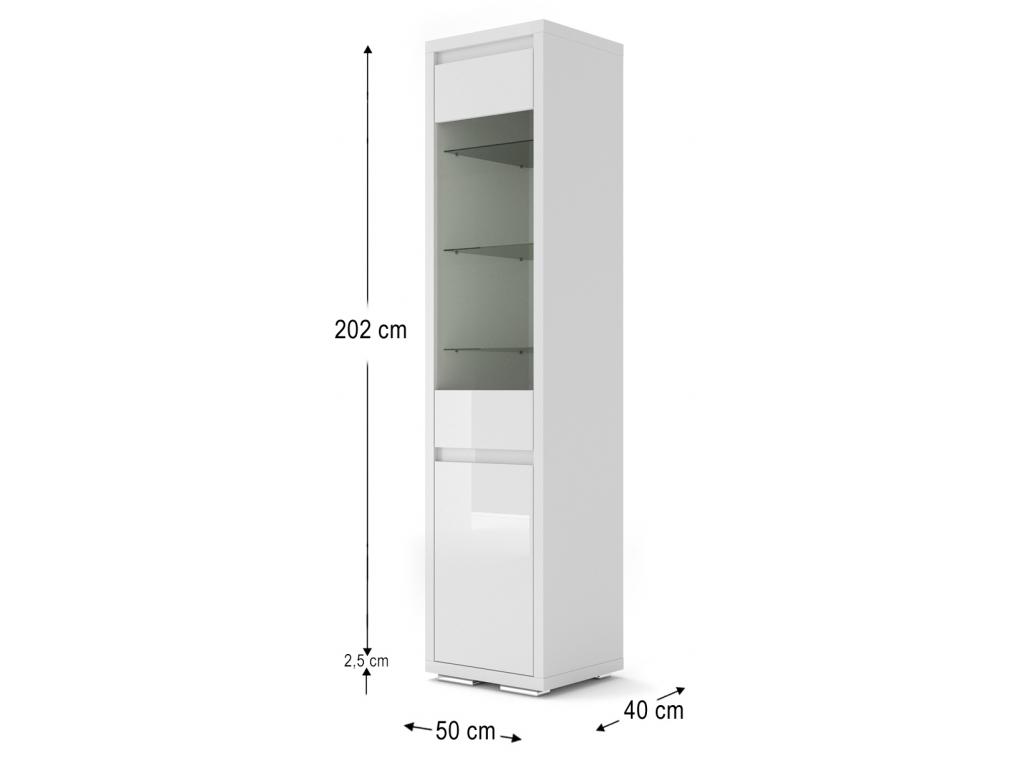 moderna biela leskla vitrina NORDIC BIANCO 06