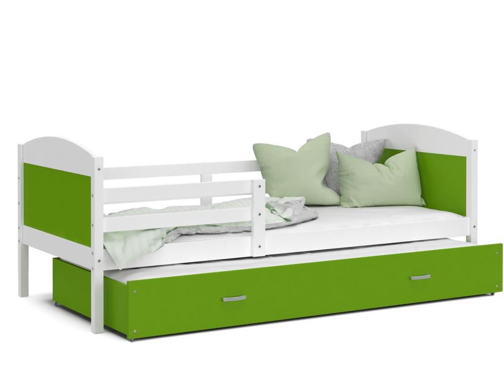 detska postel s pristelkou MATEUSZ biela zelena