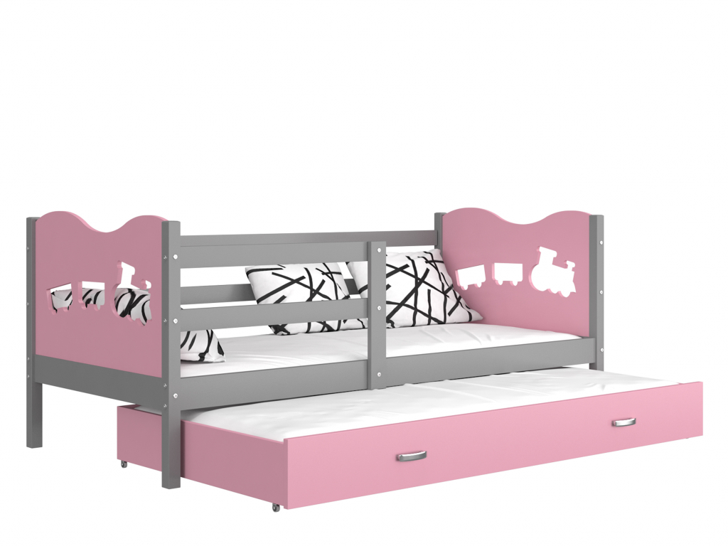 detska postel s pristelkou MAX P2 siva ruzova