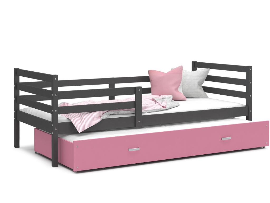 detska postel s pristelkou JACEK P2 siva ruzova
