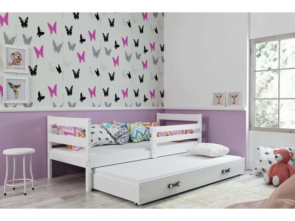 detska jednolozkova postel s pristelkou ERYK BIELA MODRA