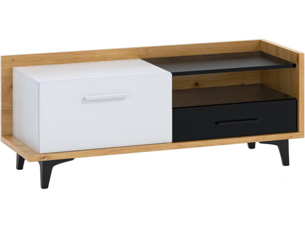 TV stolik BOX 08 1D1S dub artisan biely cierny