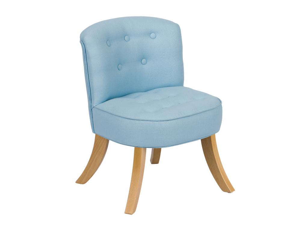 Skos fotelik len błękitny długie drewniane