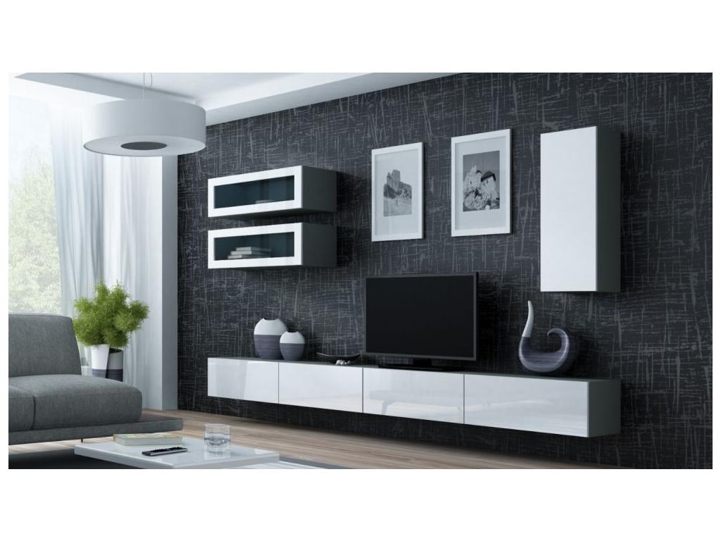 Obývacia stena VIGO 11 sivá biela