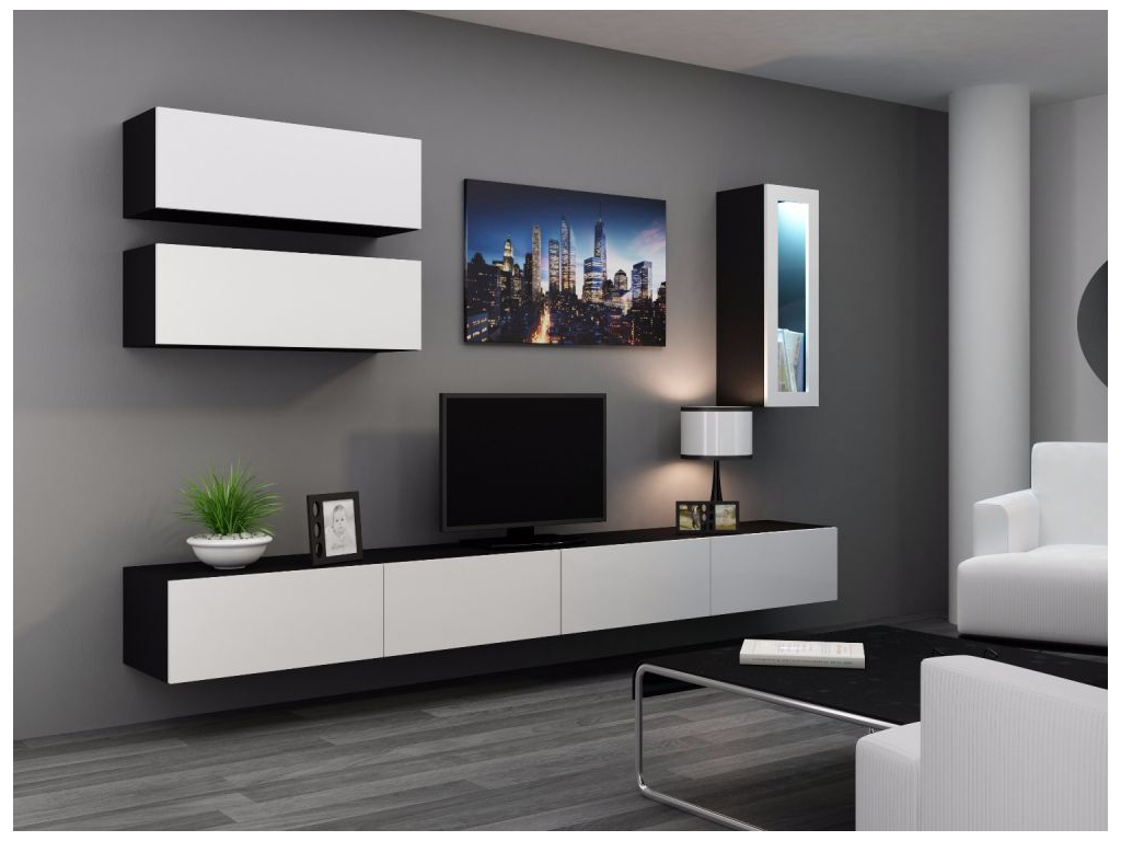 Obývacia stena VIGO 12 čierna biela