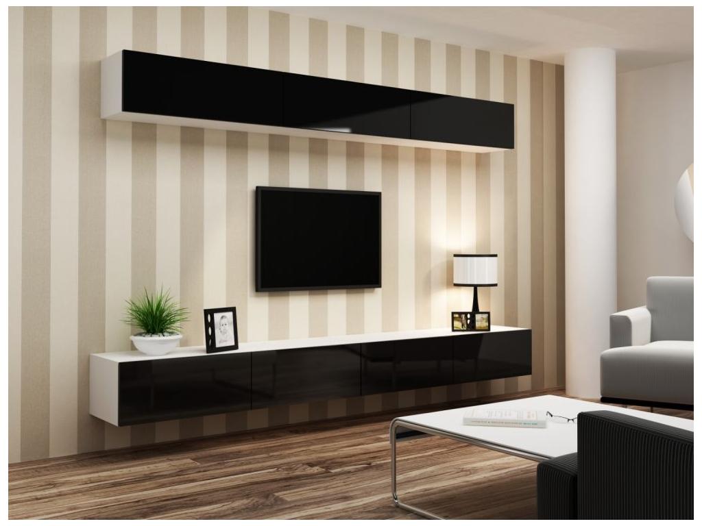 Obývacia stena VIGO 13 biela čierna 2