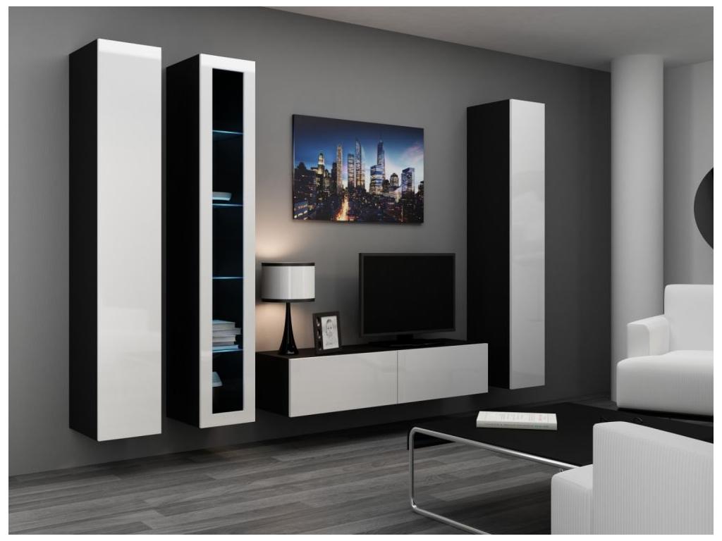 Obývacia stena VIGO 15 čierna biela