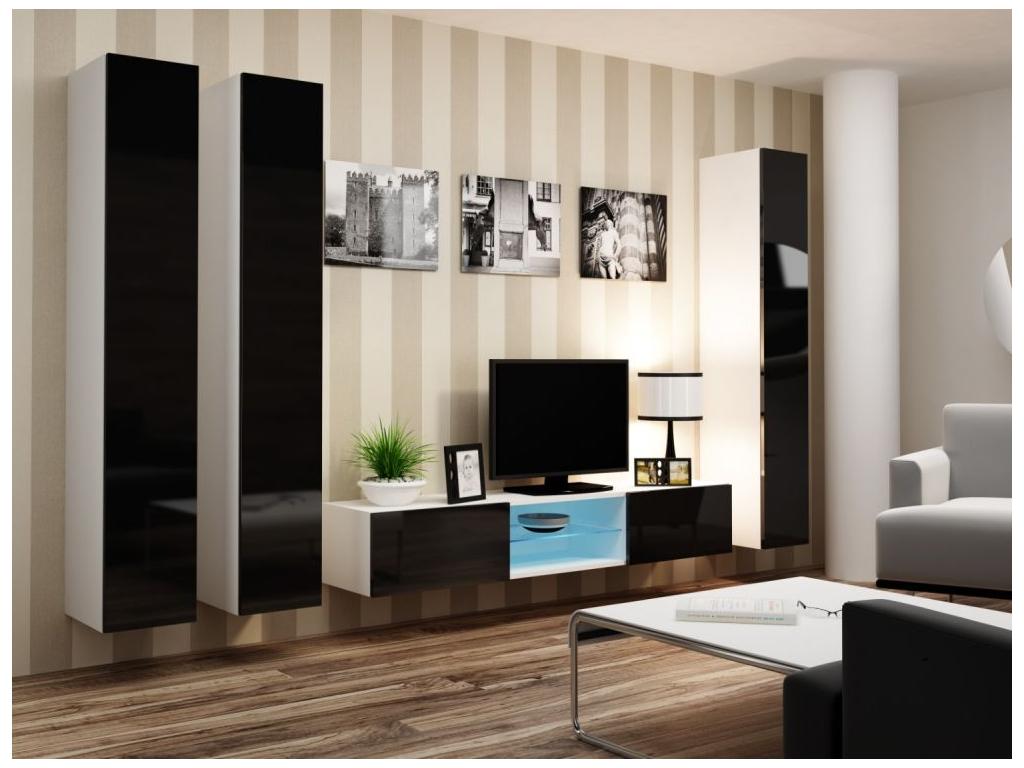 Obývacia stena VIGO 18 biela čierna