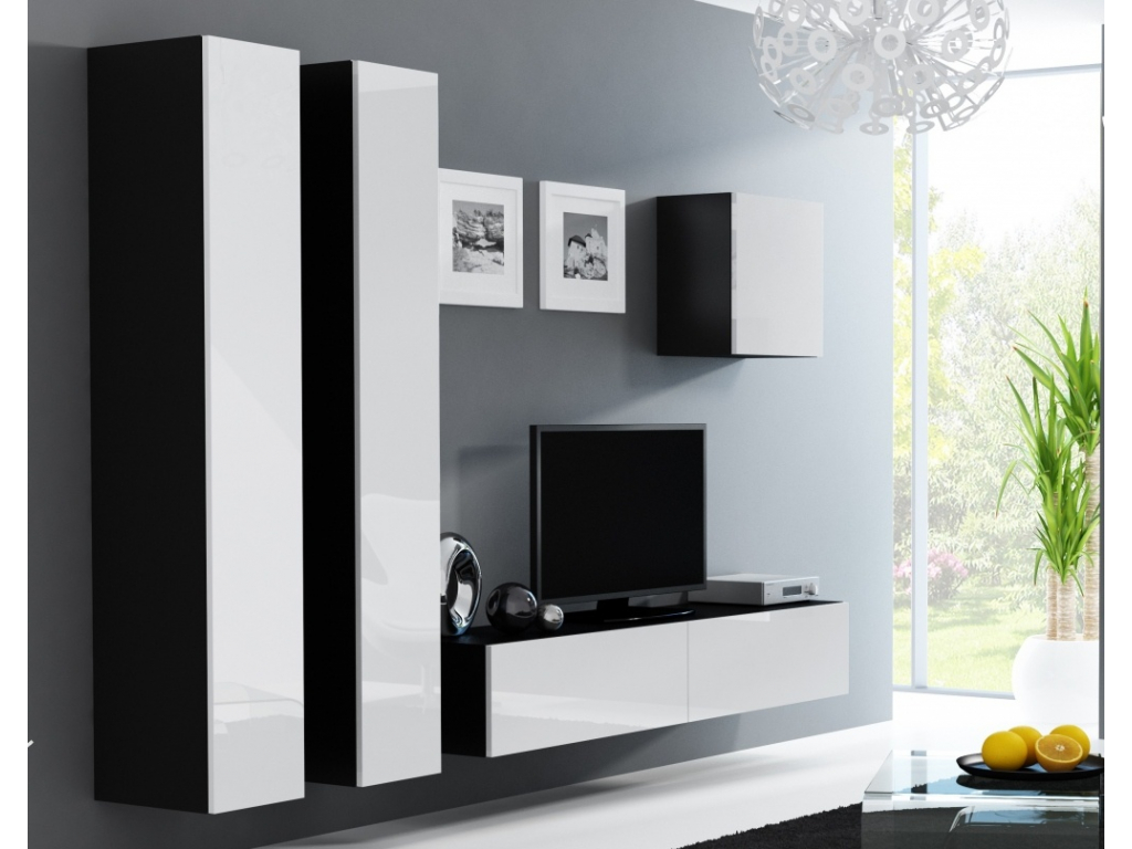 Obývacia stena VIGO 25 čierna biela