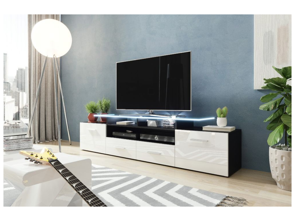 TV stolík EVORA čierna biela