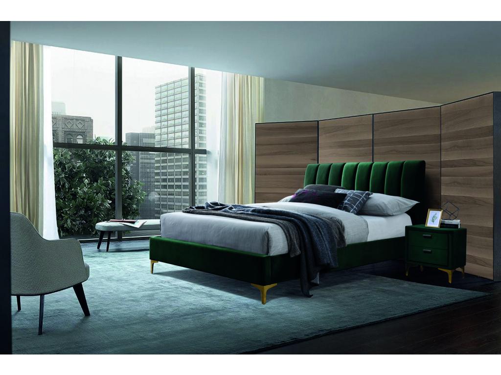 MIRAGE VELVET 160X200 Zelená posteľ