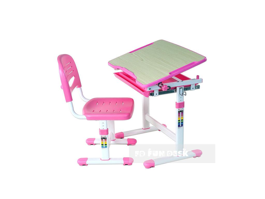 regulowane biurko z krzese kiem piccolino pink 3