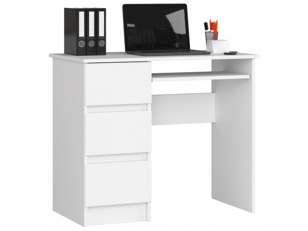 písací stolík Clips A-6 biela farba, ľavé prevedenie