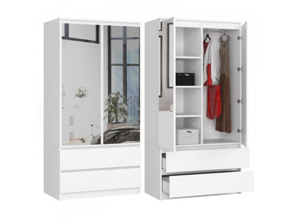 moderná biela skriňa CLIPS so zrkadlom