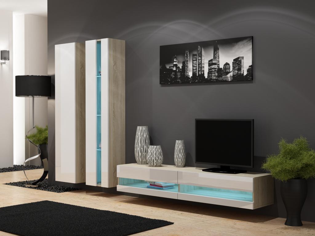 Obývacia stena VIGO NEW 5 dub sonoma/biely lesk