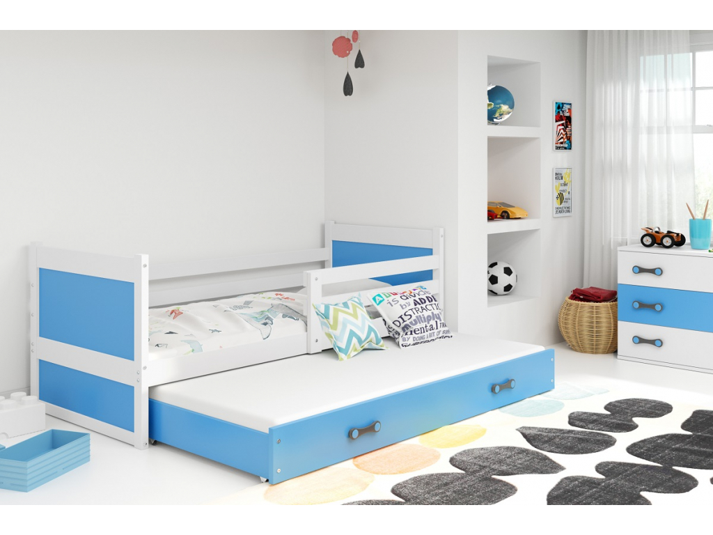 detska jednolozkova postel s pristelkou RICO 2 BIELA MODRA