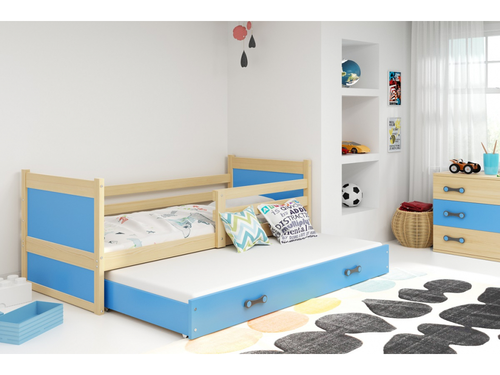 detska jednolozkova postel s pristelkou RICO 2 BOROVICA MODRA