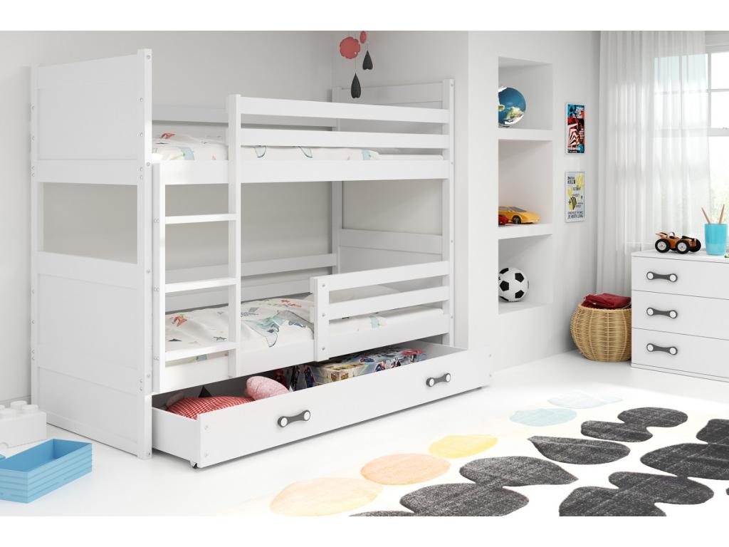 f409bb868d078 detska poschodova postel s uloznym priestorom RICO BIELA BIELA