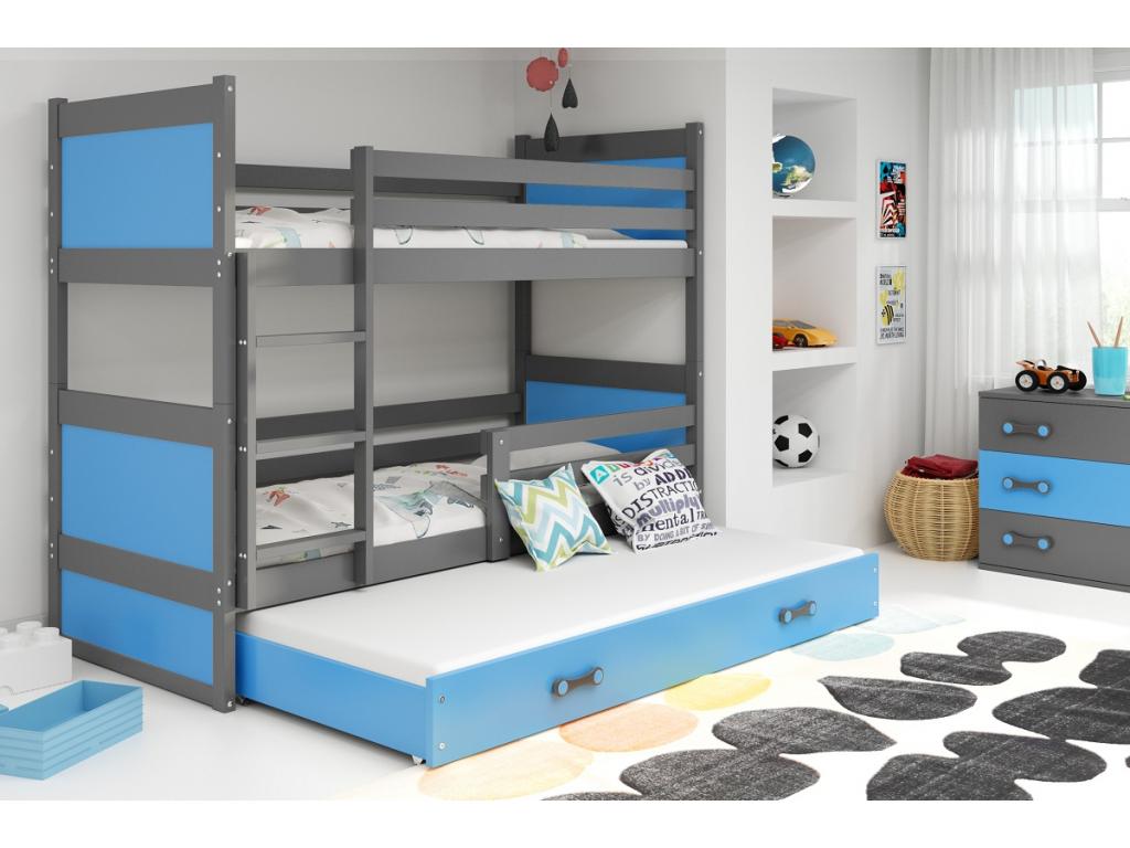 detska poschodova postel s pristelkou RICO SIVA MODRA