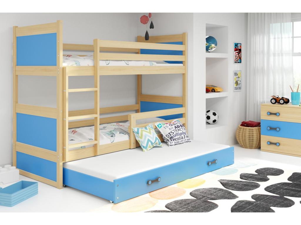 detska poschodova postel s pristelkou RICO BOROVICA MODRA