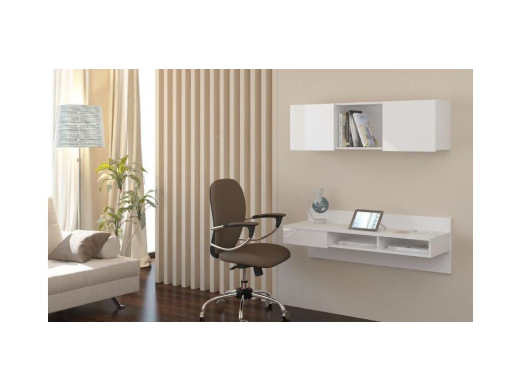 závesný PC stolík UNO v modernom bielom vzhľade
