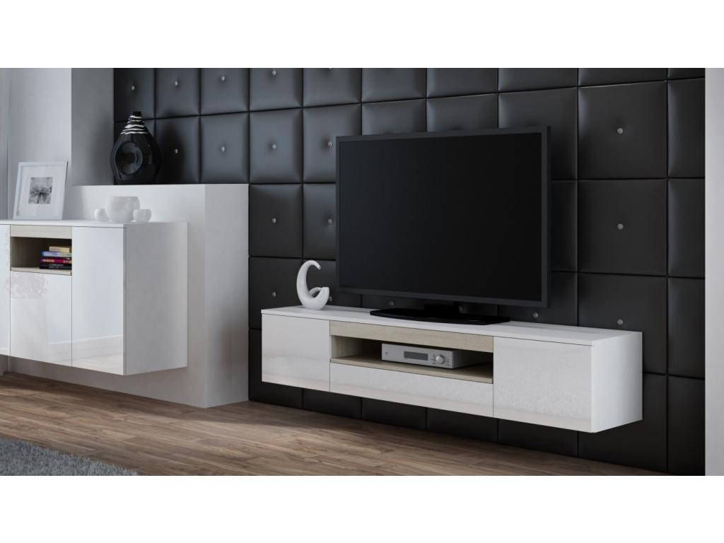 938e4773e Moderný lesklý závesný TV stolík Viva biela/biely lesk/sonoma ...