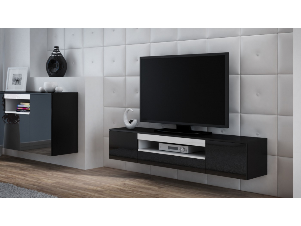 593080def Moderný závesný TV stolík Viva čierna/čierny lesk/biela - mojnabytok.sk