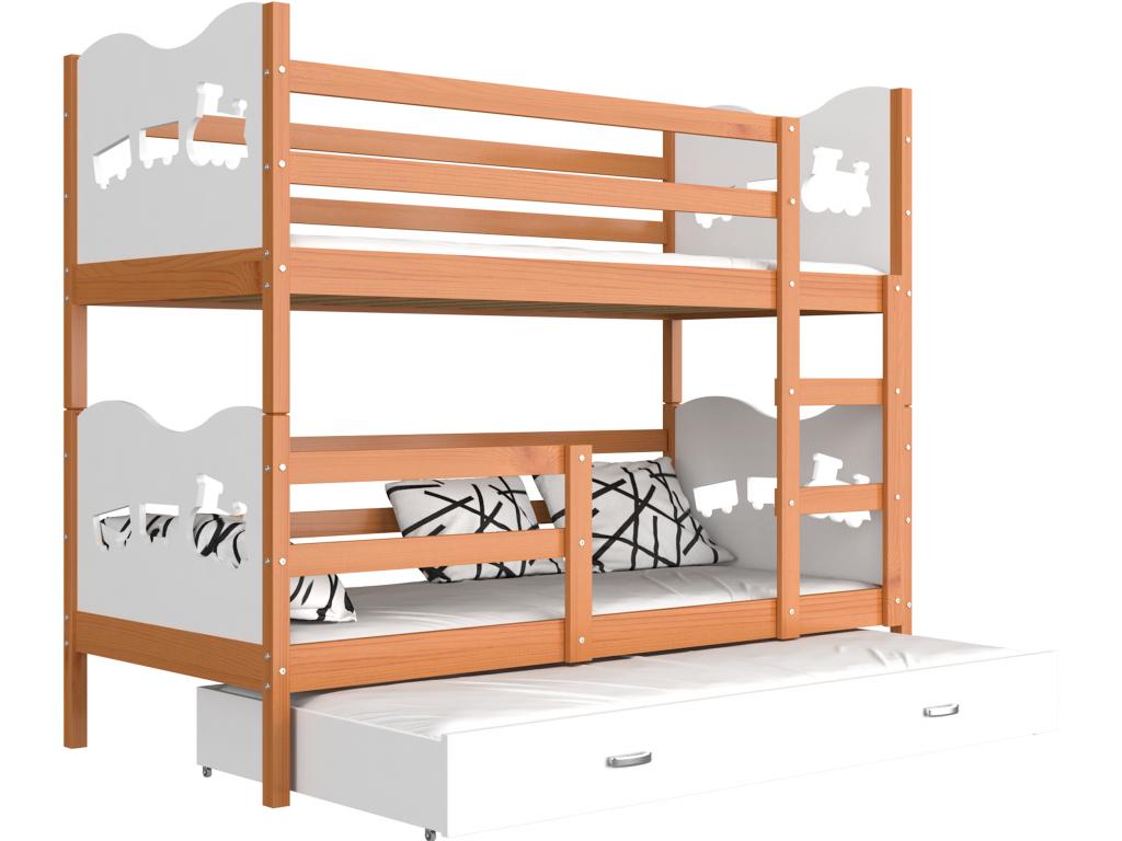 26a5df011bc33 Detská poschodová posteľ Max 3 drevo / MDF 200 x 90 cm - mojnabytok.sk