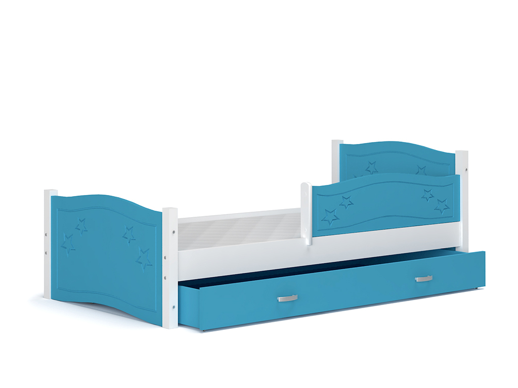 detska postel DAISY so zabrankou biela modra