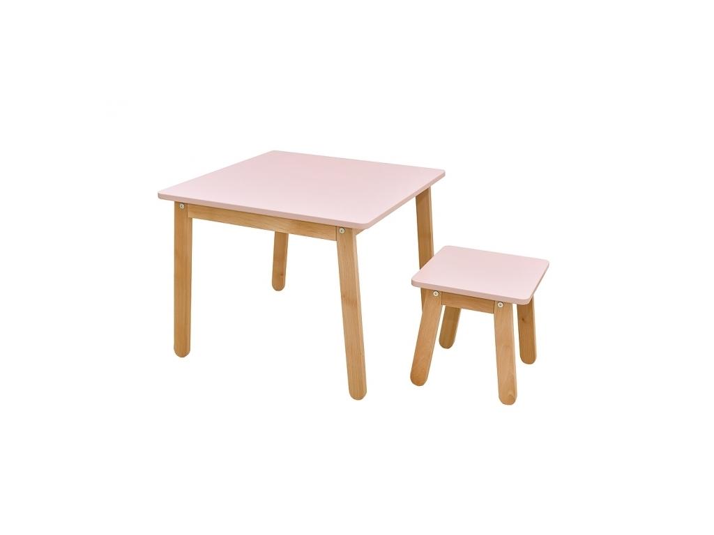 c9c0349a8179 moderna zostava detskeho nabytku stol a stolicka WOODY ruzova