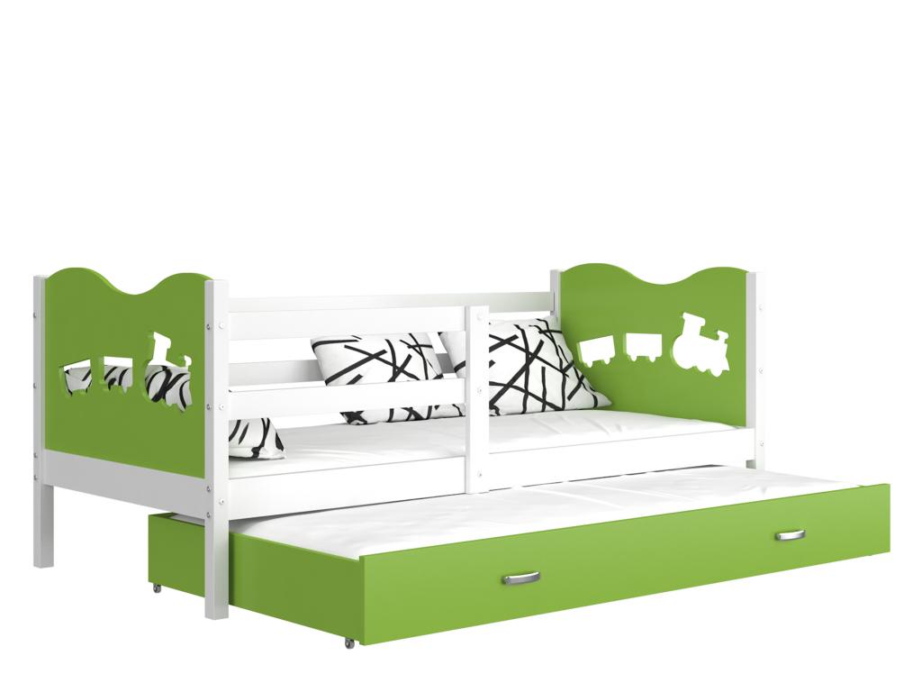 detska postel s pristelkou MAX P2 biela zelena