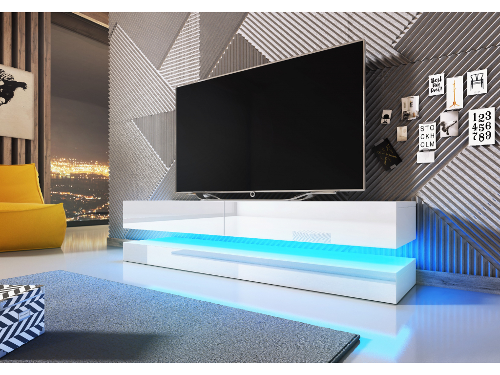 moderny biely leskly TV stolik FLY s ovetlenim
