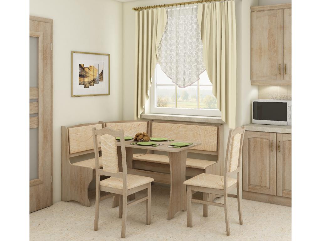 Zestaw kuchenny narożny z krzesłami A aranżacja sonoma jasna monaco