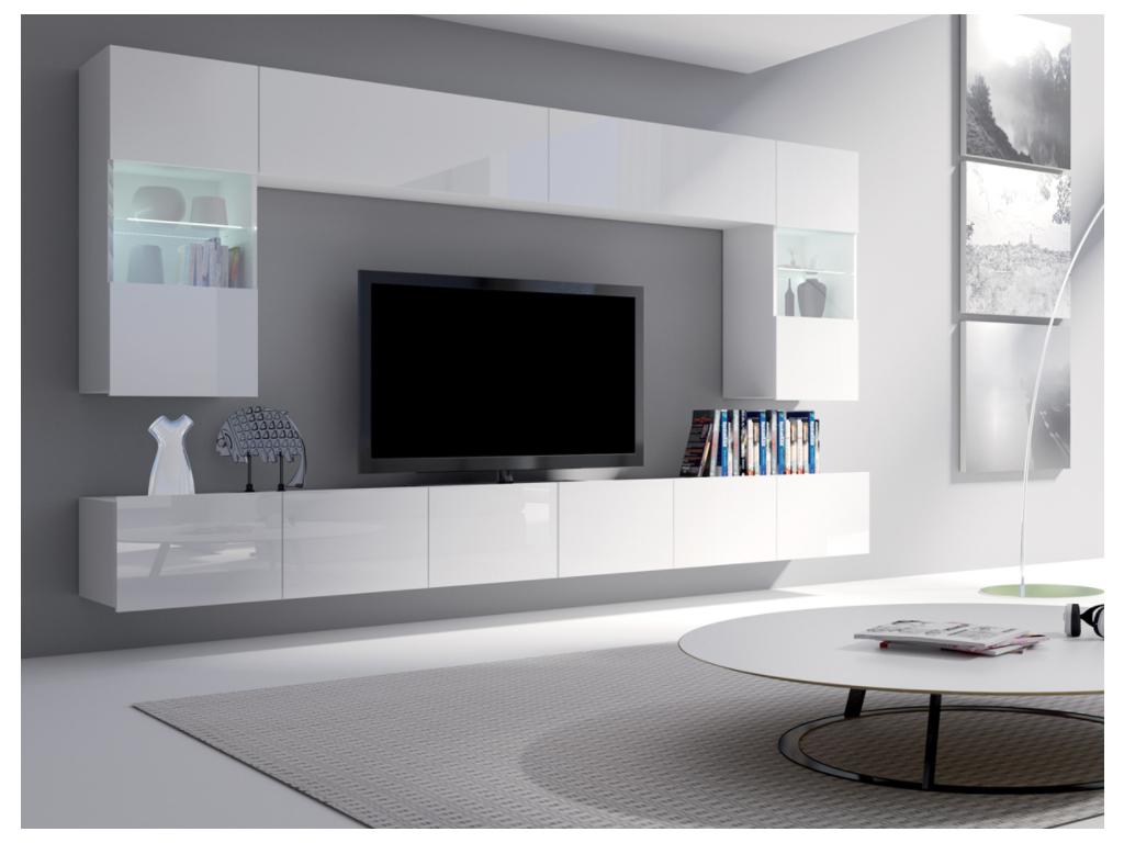 moderna biela leskla obyvacia stena CALABRINI I