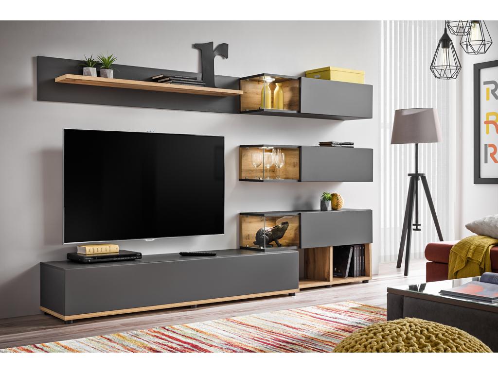 c6169aaaa4f2 Moderná matná obývacia stena SILK - mojnabytok.sk