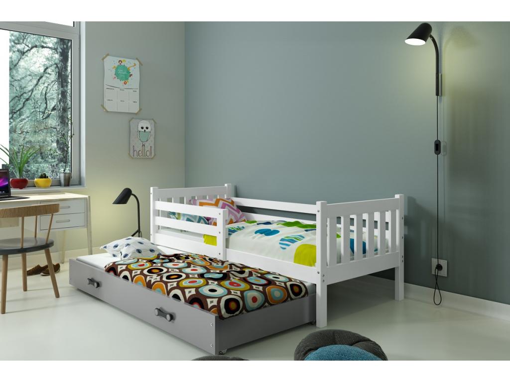 detska jednolozkova postel s pristelkou CARINO BIELA siva