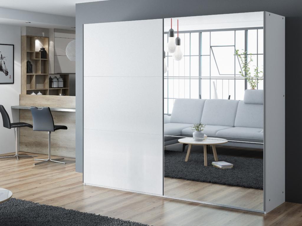 moderna biela satnikova skirna so zrkadlom VIGO 250 biela