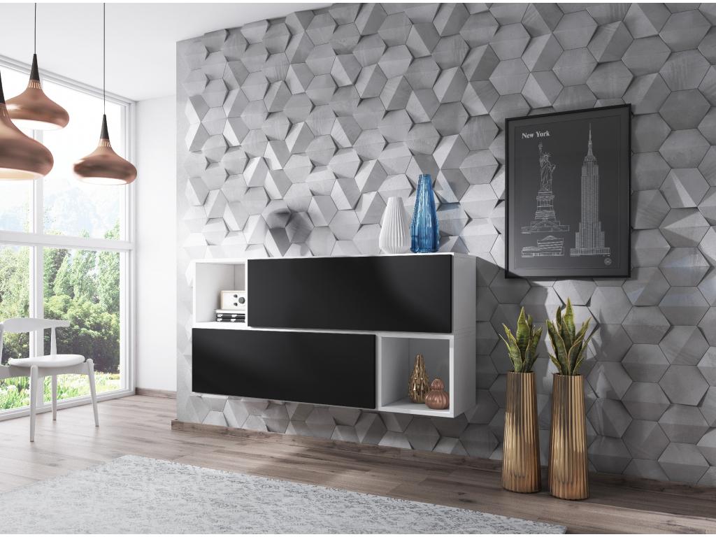 Artcam Zostava do obývačky ROCO 14 roco: korpus biely mat / okraj biely mat / dvierka čierny mat