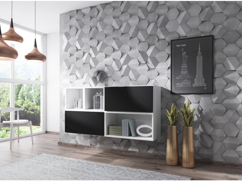 Artcam Zostava do obývačky ROCO 15 roco: korpus biely mat / okraj biely mat / dvierka čierny mat