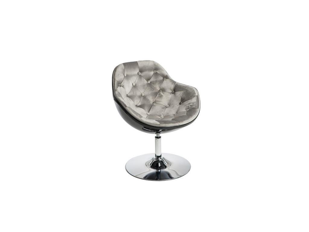 modene otocne elegantne relaxacne kreslo PEZZO VELVET cierny korpus sive presivane sedenie