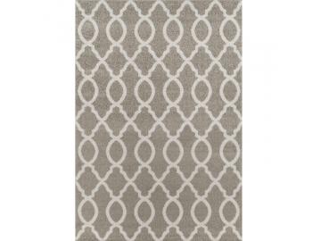 Koberec, svetlosivá/vzor v slonovinovej, 100x150, DESTA