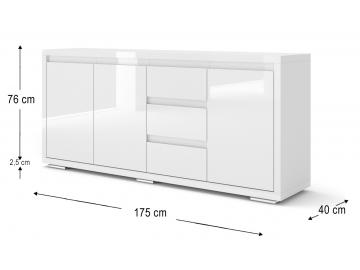 moderna siroka biela leskla komoda NODRIC BIANCO 08 biely lesk