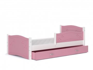 detska postel DAISY so zabrankou biela ruzova
