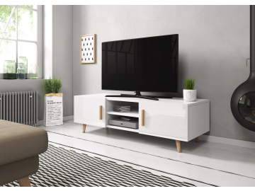 prakticky TV stolik SWEDEN 2 biely mat biely lesk