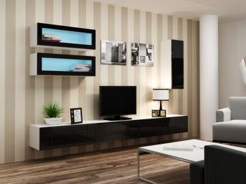 Obývacia stena VIGO 11 biela čierna