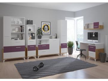 HEY obývacia izba 2 dub artisan biela fialová