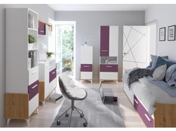 HEY obývacia izba 3 dub artisan biela fialová