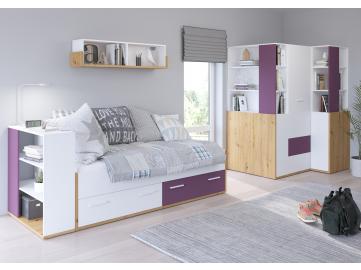 HEY obývacia izba 5 dub artisan biela fialová