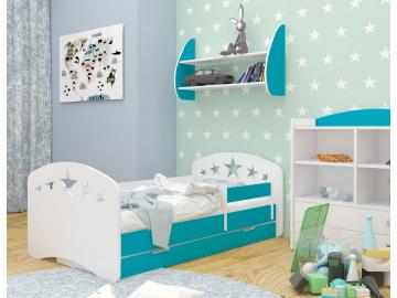 detska postel happy design s uloznym priestorom modra hviezdicky