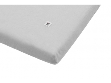 Linen fitted sheet misty grey 01